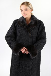 Fur Black Astrakhan Long Fur with Mink Details / Size: ? - Fit: M